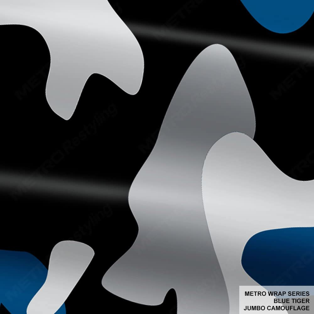 Metro Wrap Series Blue Tiger Jumbo Camouflage 5ft x 2ft (10 sq/ft) Camo Vinyl Car Wrap Film