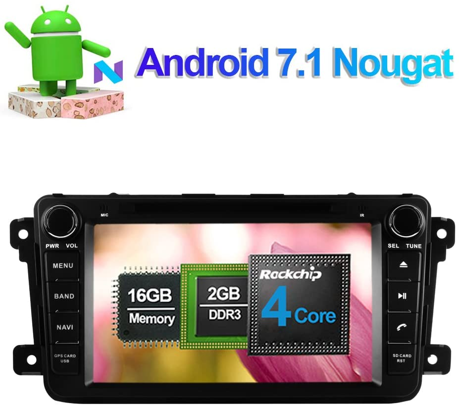 Flynavigo 2 Din 8 Inch Car Radio Stereo DVD Player for Mazda CX-9 2007- with Gps Navigation Android 7.1 System Support FM/AM WIFI/3G 1080P Video Bluetooth Rear View Camera USB DVR Mirror Link