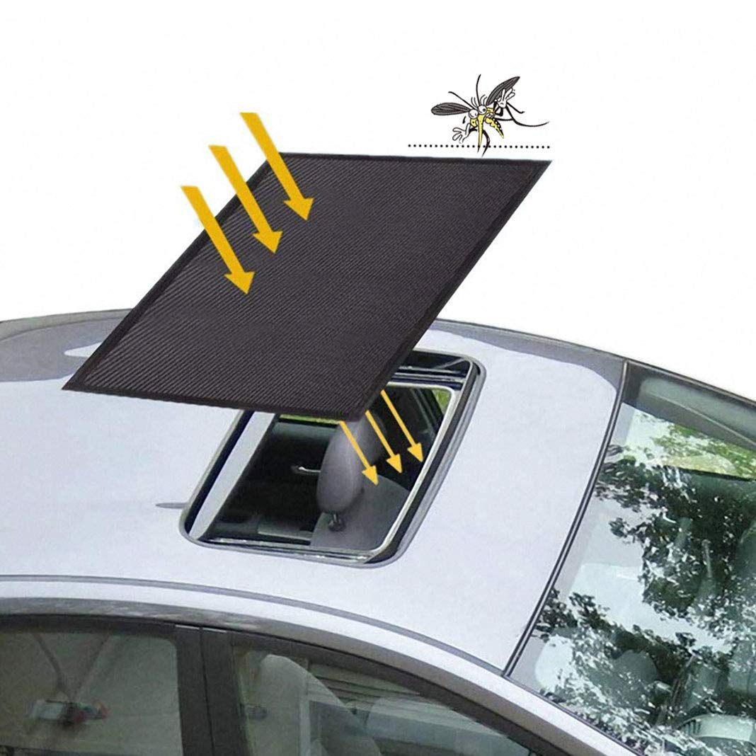 Car Sunroof Sunshade, Sunroof Sun Shade Universal Car Roof Cover with Magnetic Breathable Mesh for Anti Mosquito Screens UV Protection, All Years (21.6 x 37.4 inches)