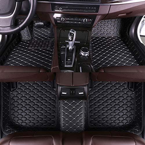 8X-SPEED Custom Car Floor Mats Fit for Mercedes Benz GLA Class 2015-2016 Full Coverage All Weather Protection Waterproof Non-Slip Leather Liner Set Black with Beige Line