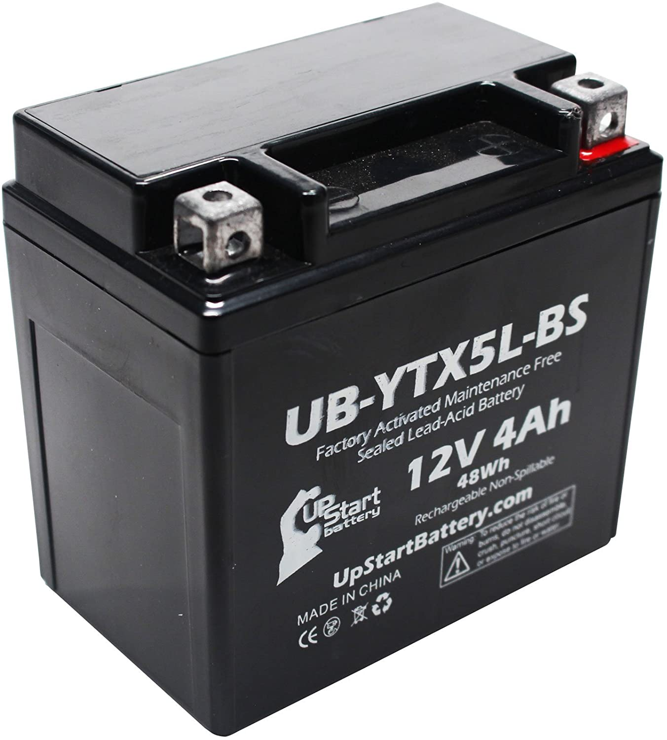 Replacement for 2009 Yamaha YW50A Zuma 50CC Factory Activated, Maintenance Free, Scooter Battery - 12V, 4Ah, UB-YTX5L-BS
