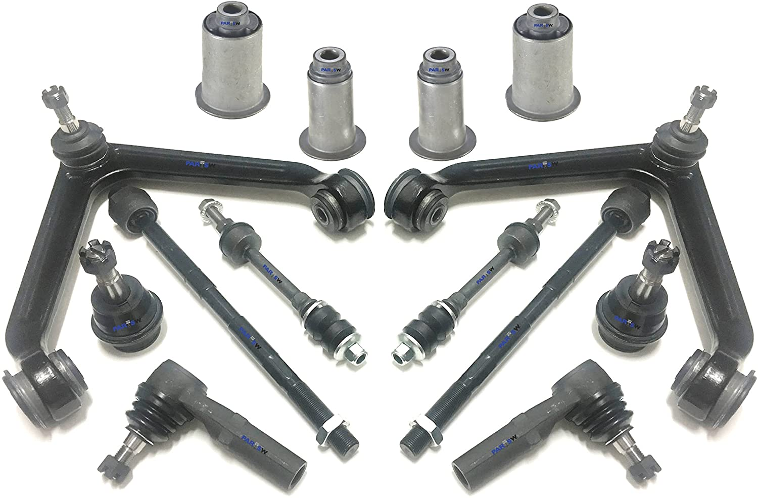 PartsW 14 Pc New Front Suspension Kit for Dodge Ram 1500 (2002-2005) RWD Models Only Upper Control Arms with Ball Joints Assembly, Tie Rod Ends Ball Joints & Sway Bars