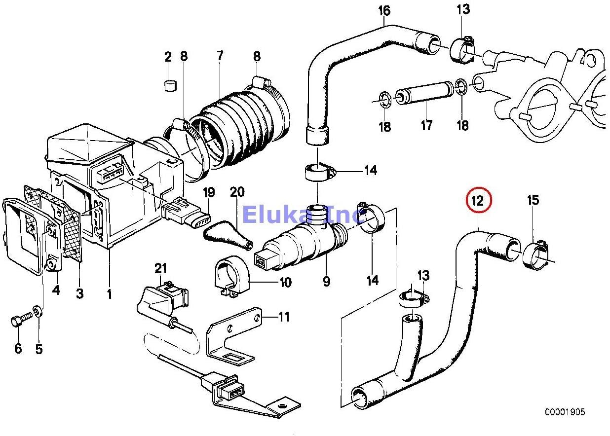 BMW Genuine Fuel Injection Volume Air Flow Sensor Hose M6 M5