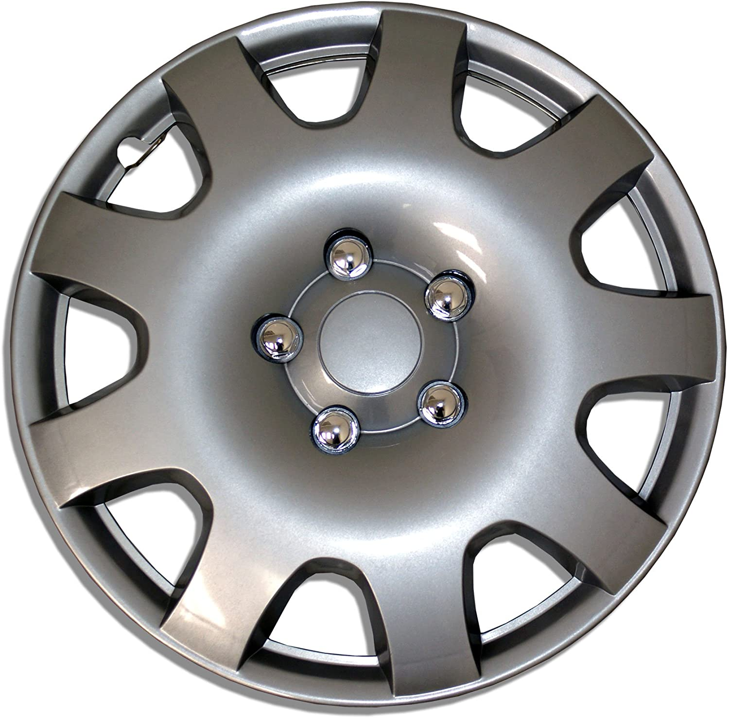 TuningPros WSC-502S16 Hubcaps Wheel Skin Cover 16-Inches Silver Set of 4