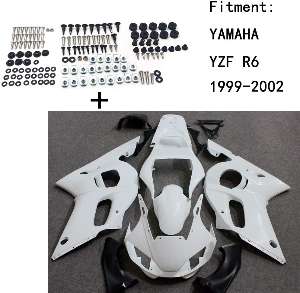 HTTMT Y0602- Unpainted ABS Body work Fairing Kit w/screw Compatible with YAMAHA YZF R6 1999-2002