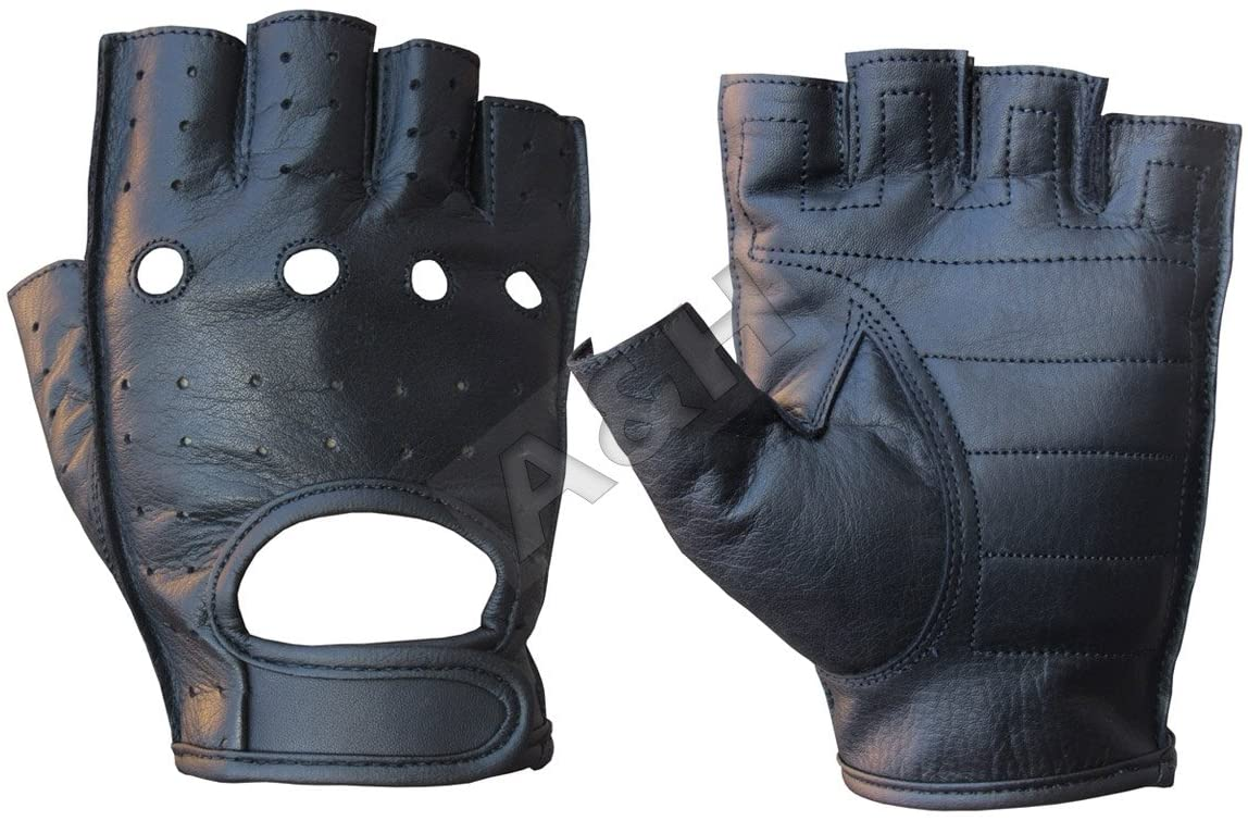 A&H Apparel Leather Motorcycle Glove Genuine Cowhide Fingerless Leather Driving Gloves (X-Large)