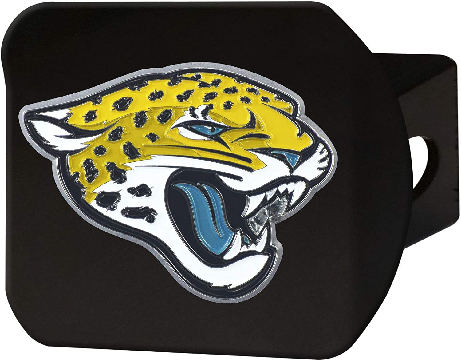 FANMATS NFL Jacksonville Jaguars Metal Hitch Cover, Black, 2 Square Type III Hitch Cover