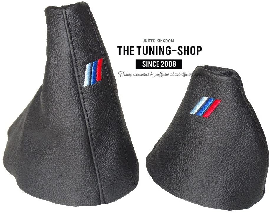 The Tuning-Shop Ltd for BMW 5 Series E39 1995-2002 Automatic Shift & E Brake Boot Black Leather M3 /// Embroidery
