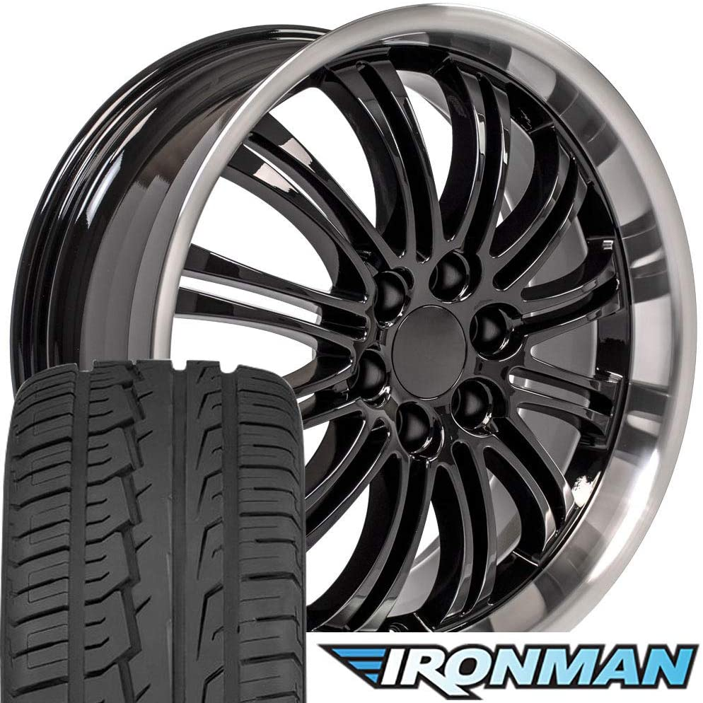 OE Wheels LLC 22 Inch Fits Chevy Silverado Tahoe GMC Sierra Yukon Cadillac Escalade CA81 Gloss Black with Machined Lip 22x9 Rims Hollander 5413 Ironman iMove Gen2 Tires SET