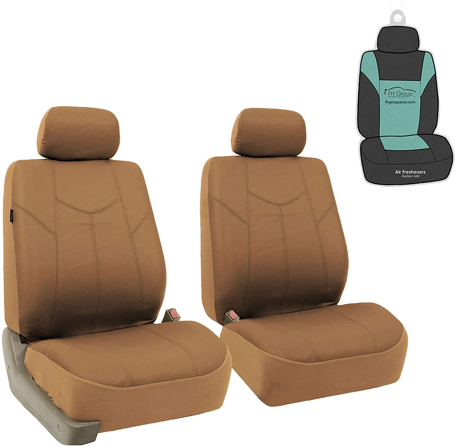 FH Group PU009115 PU Leather Rome Seat Covers (Tan) Front Set with Gift - Universal Fit