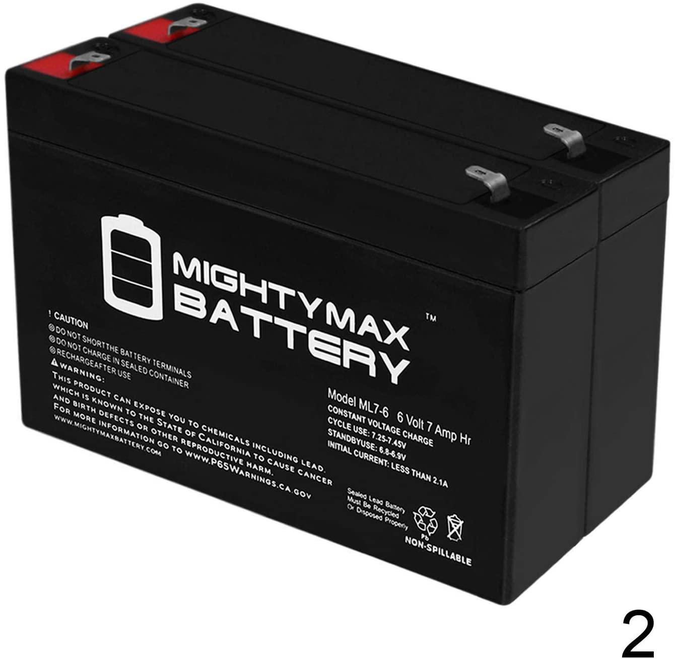 Mighty Max Battery 6V 7AH Sealed Lead Acid (SLA) Battery for Emergency Exit Lighting AGM - 2 Pack Brand Product