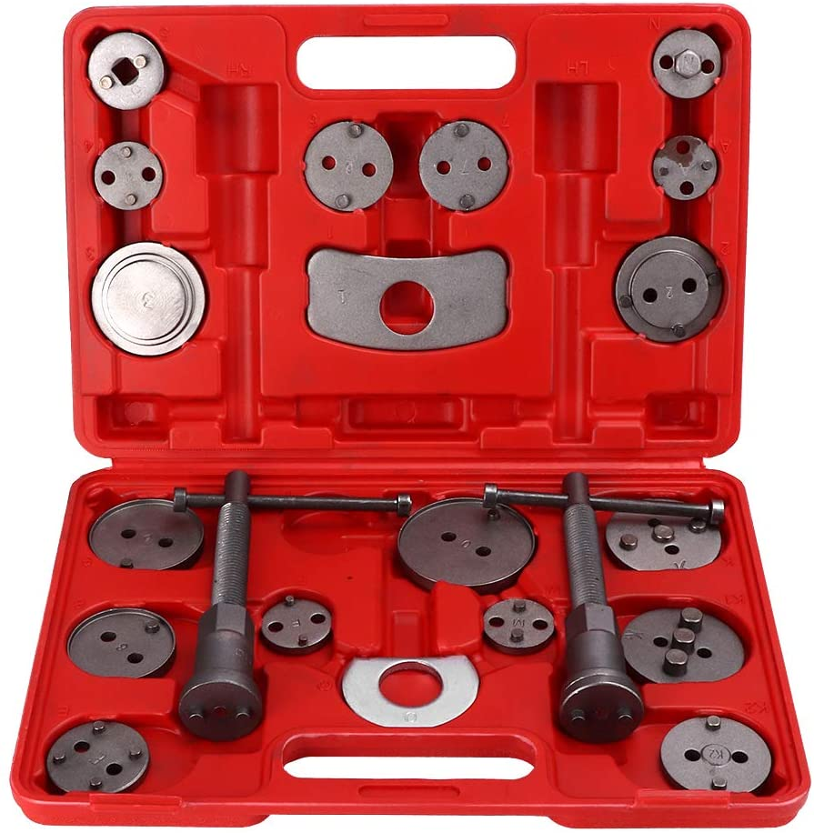 Yosoo Brake Caliper Rewind Tool,21pcs/Set Universal Disc Brake Caliper Rewind Tool Brake Piston Wind Back Tool with Portable Storage Box