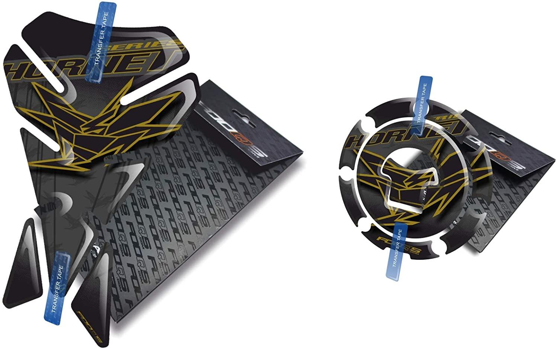 Fooqs Tankpad and Cappad V1 for Honda Hornet CB 500, CB 600, CB 900, CB 1000 (Black/Gold)