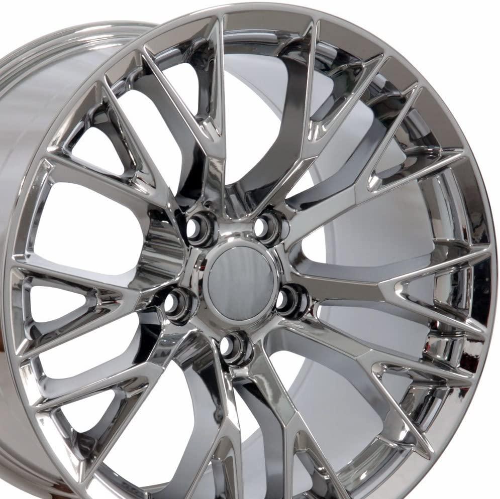 OE Wheels LLC 17 Inch Fit Corvette Camaro C7 Z06 Style Chrome 17x9.5 Rims SET