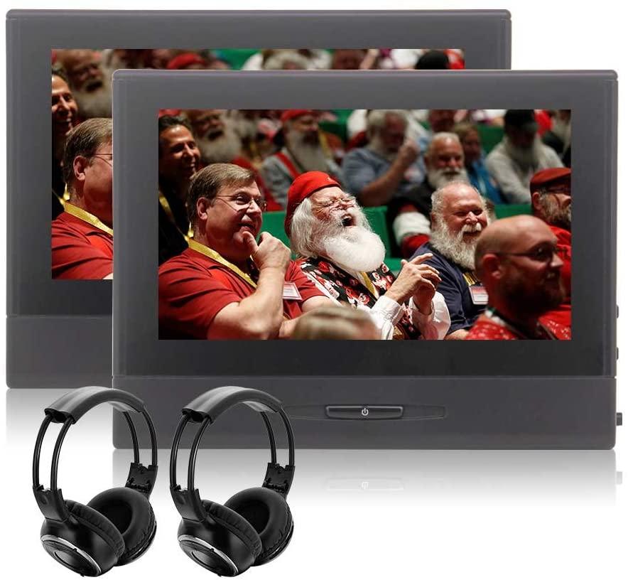 2 x IR Headphones Included! EinCar Dual Screen Car Headrest DVD Player with 10.1 Inch TFT LCD Screen Support 1080P Video FM Transmitter USB SD AV Input & Output