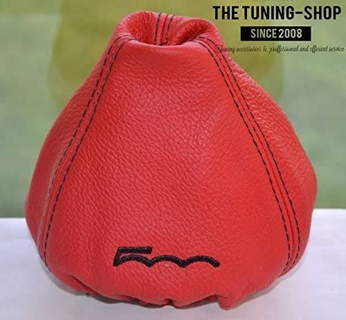 The Tuning-Shop Ltd for Fiat 500 2007-2015 Manual Shift Boot Red Leather with Black 500 Edition