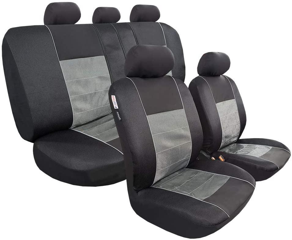 seakomoto Grey Black Jacquard Polyester Seat Cover for Cars Trucks SUV Full Set Front Low Bucket, Split Rear Bench