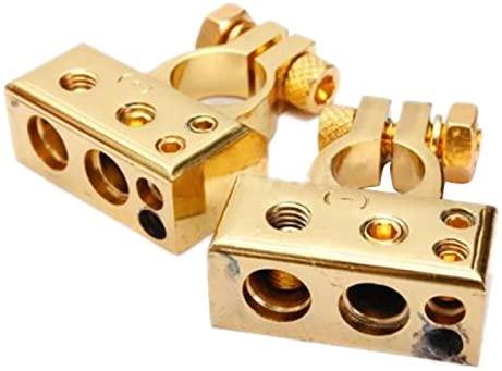 Davitu Terminals - Best price 2 x HEAVY DUTY Golden Plated Car Battery Terminals (Positive/Nagative) 4,8 AWG