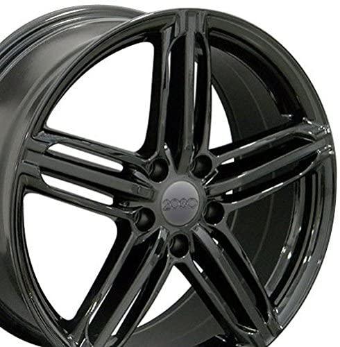 OE Wheels LLC 18 Inch Fits Volkswagen CC Beetle Audi A3 A8 A4 A5 A6 TT RS6 Style AU12 35 Offset Gloss Black 18x8 Rim
