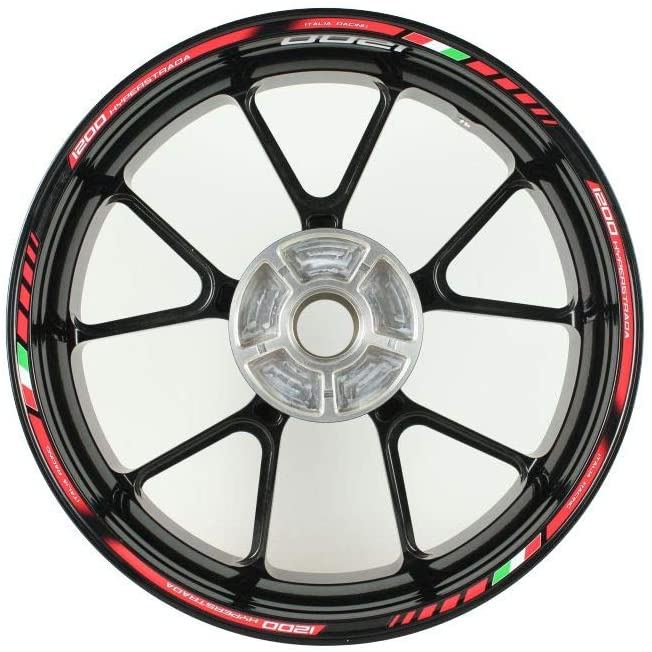 Motorcycle wheel rim decals rimstriping strips accessory sticker for Ducati Hyperstrada 1200 (Red)