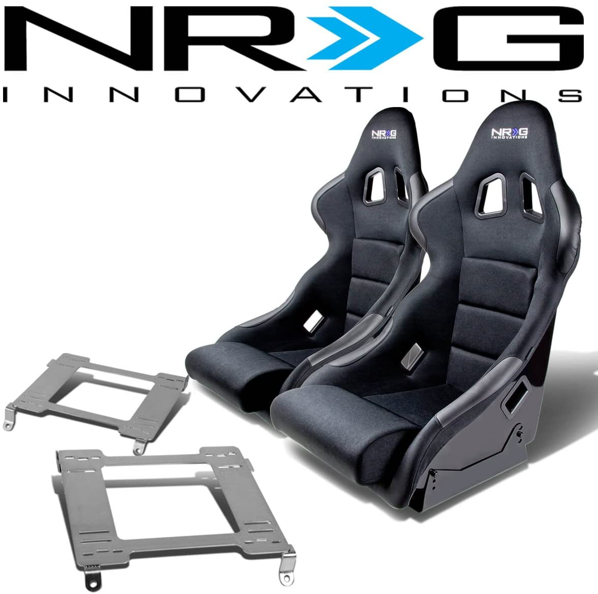 NRG FRP-311 Pair of Fiber Glass Bucket Racing Seat (Black)+Mounting Bracket Replacement for Nissan 240SX S13 S14