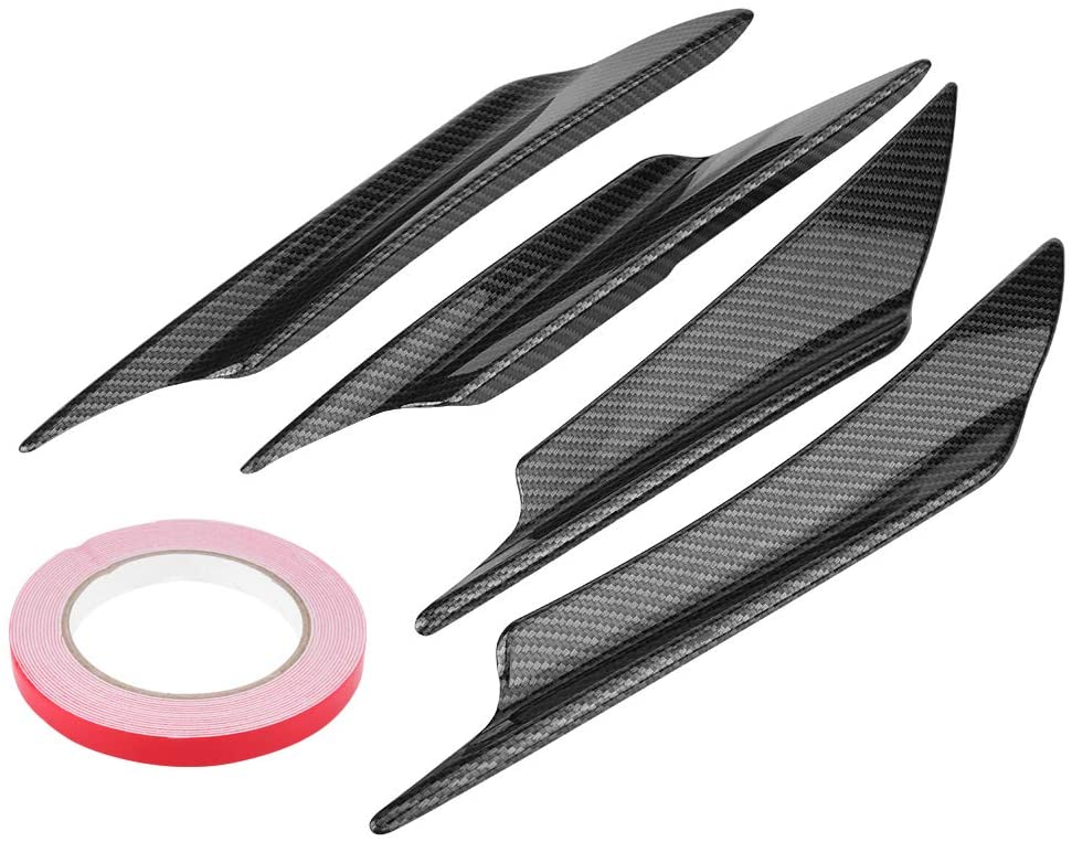 4pcs Bumper Deflector, Car Front Bumper Deflector Lip Splitter Fins Canards Body Spoiler Carbon Fiber