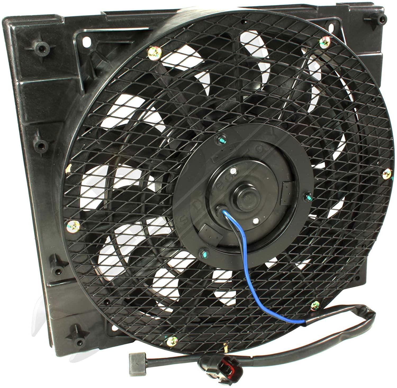 APDTY 7316712 AC Condenser Cooling Fan Assembly Fits 1994-2008 Isuzu NPR (Includes Plug n Play Fan Motor, Fan Blade, Fan Shroud; Replaces 8971834850, 8973838080)