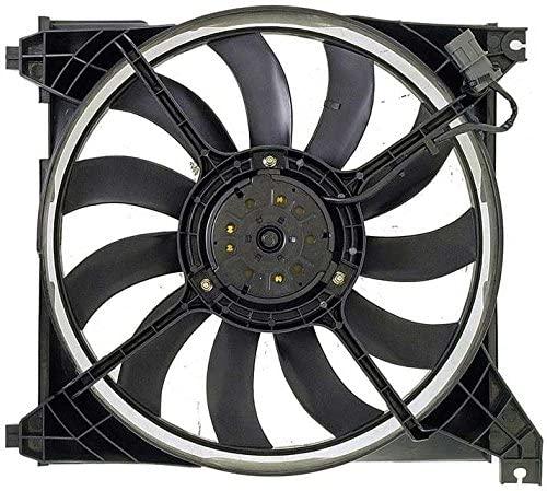APDTY 731823 Radiator Cooling Fan Blade Motor Shroud Assembly Fits 2001-2006 Hyundai Santa Fe (Replaces 25231-38000, 25350-26000, 25386-26200)