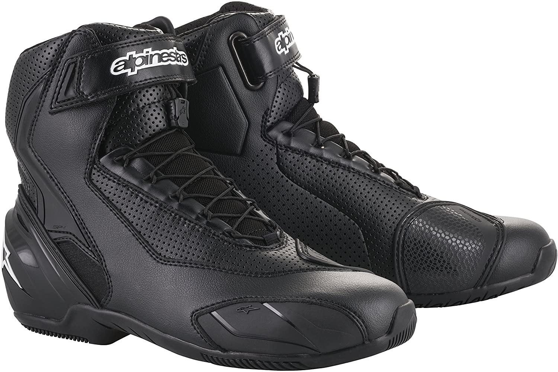SP-1 v2 Vented Motorcycle Street Road Riding Shoe (43 EU, Black Black)
