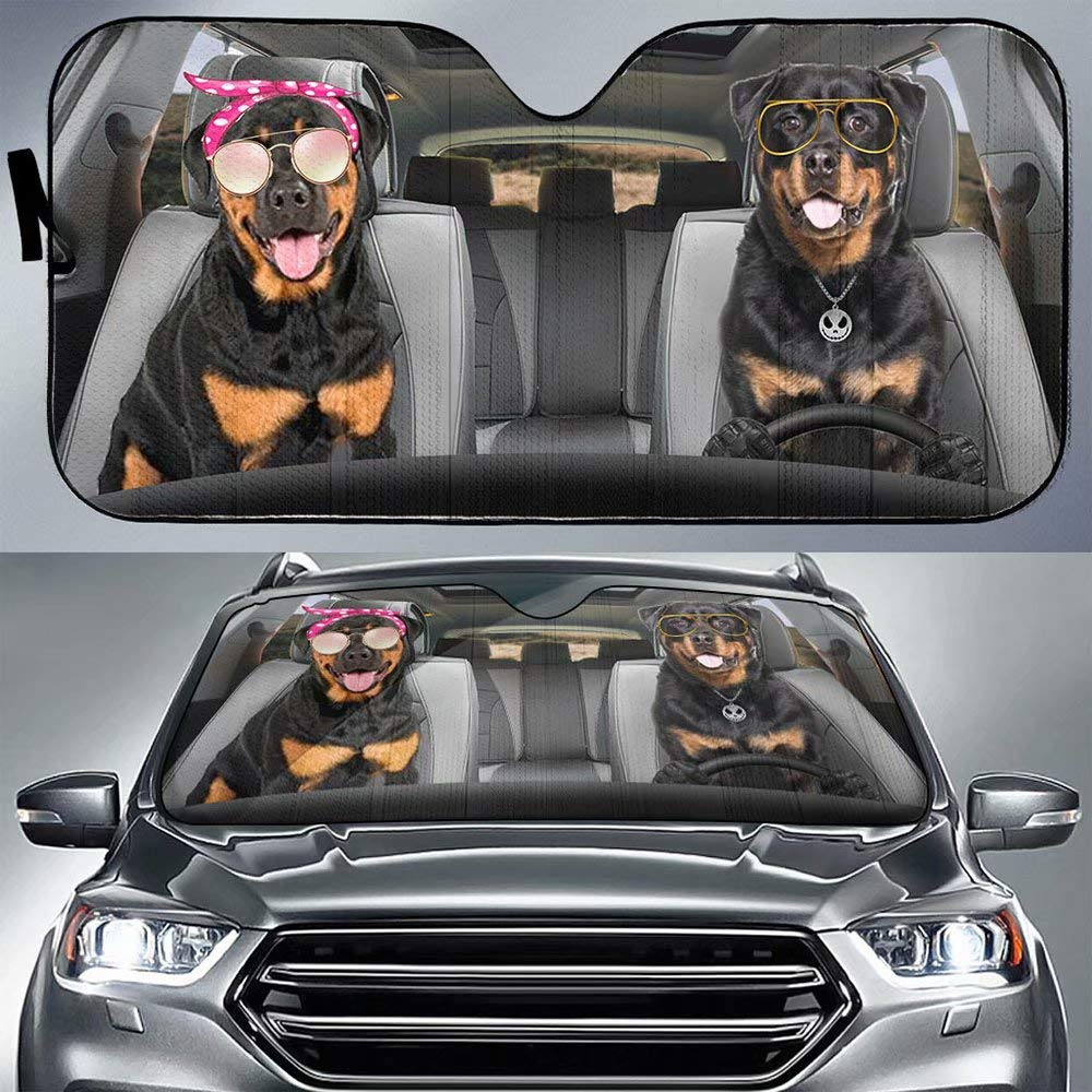 Tan Rottweiler Dog Driver Auto Front Window Windshield Cover-Family Pet Puppy Dog Anti-Sunlight Dustproof Automotive Visor Block for Car Truck SUV UV Rays Protector Sun Shade