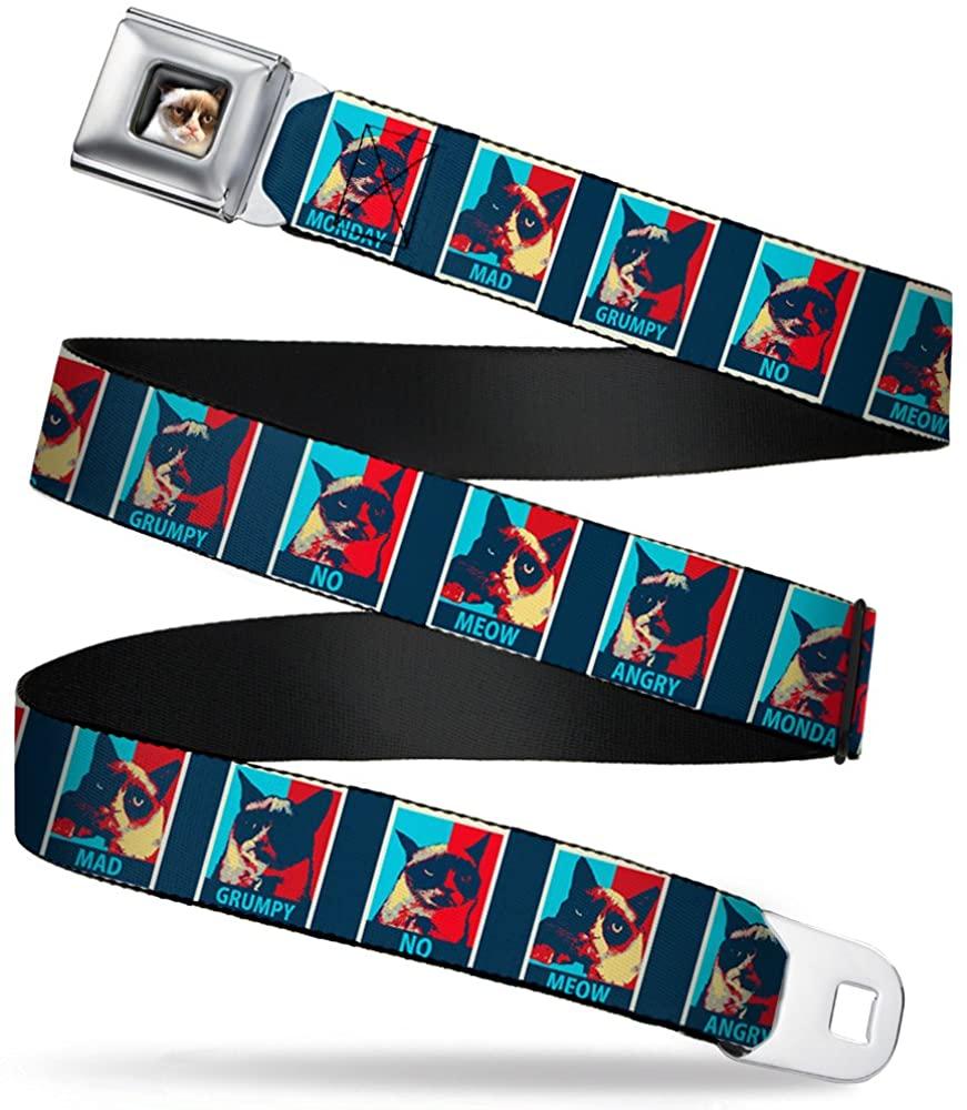 Buckle-Down Seatbelt Belt - Grumpy Cat Mood Blocks Blue/White/Red - 1.5