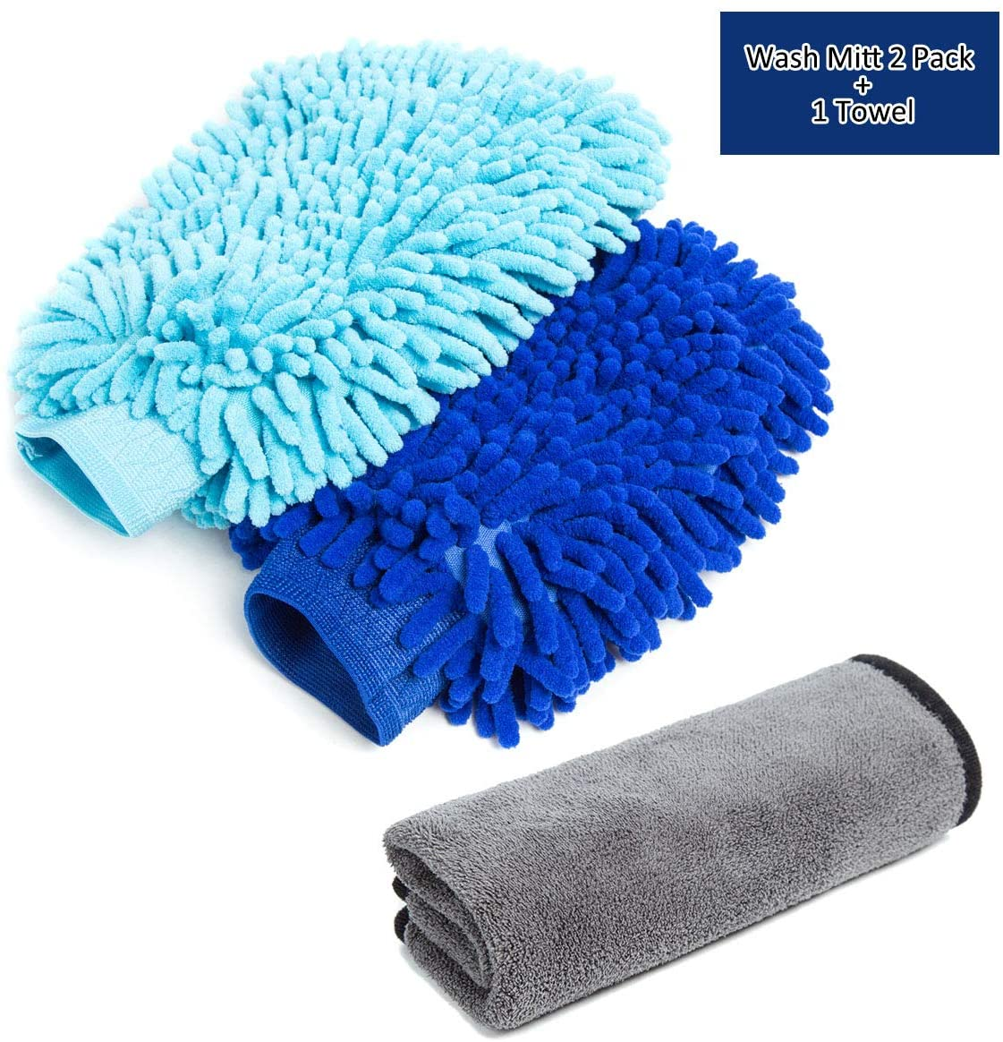 LUITON Car Wash Mitt - 2 Pack Extra Large Size 1 Towel - Premium Chenille Microfiber Wash Mitt - Wash Glove - Lint Free - Scratch Free