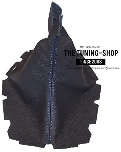 The Tuning-Shop Ltd for Ford Mustang 2005-10 Shift Boot Black Genuine Leather Blue Stitching