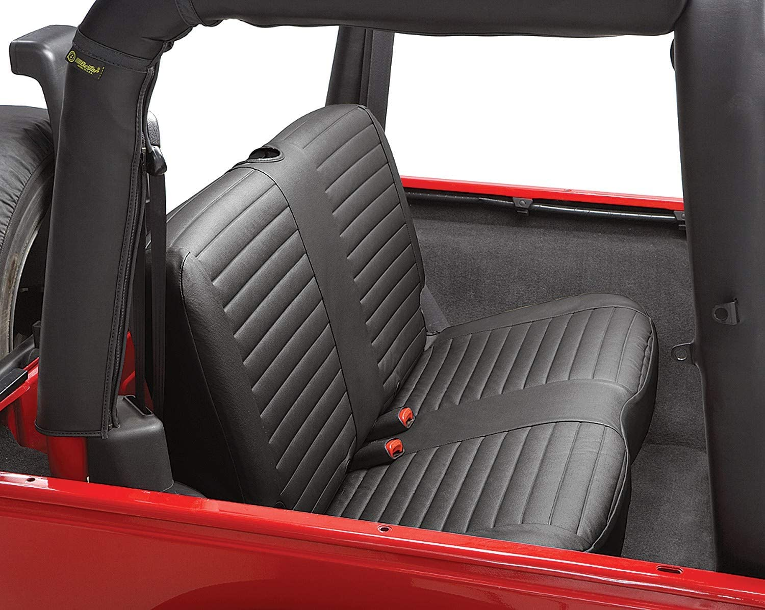 Bestop 2922115 Black Denim Seat Cover for Rear Bench Seat - Jeep 1997-2002 Wrangler; Sold as Individual Seat Cover; Fits Factory Seat