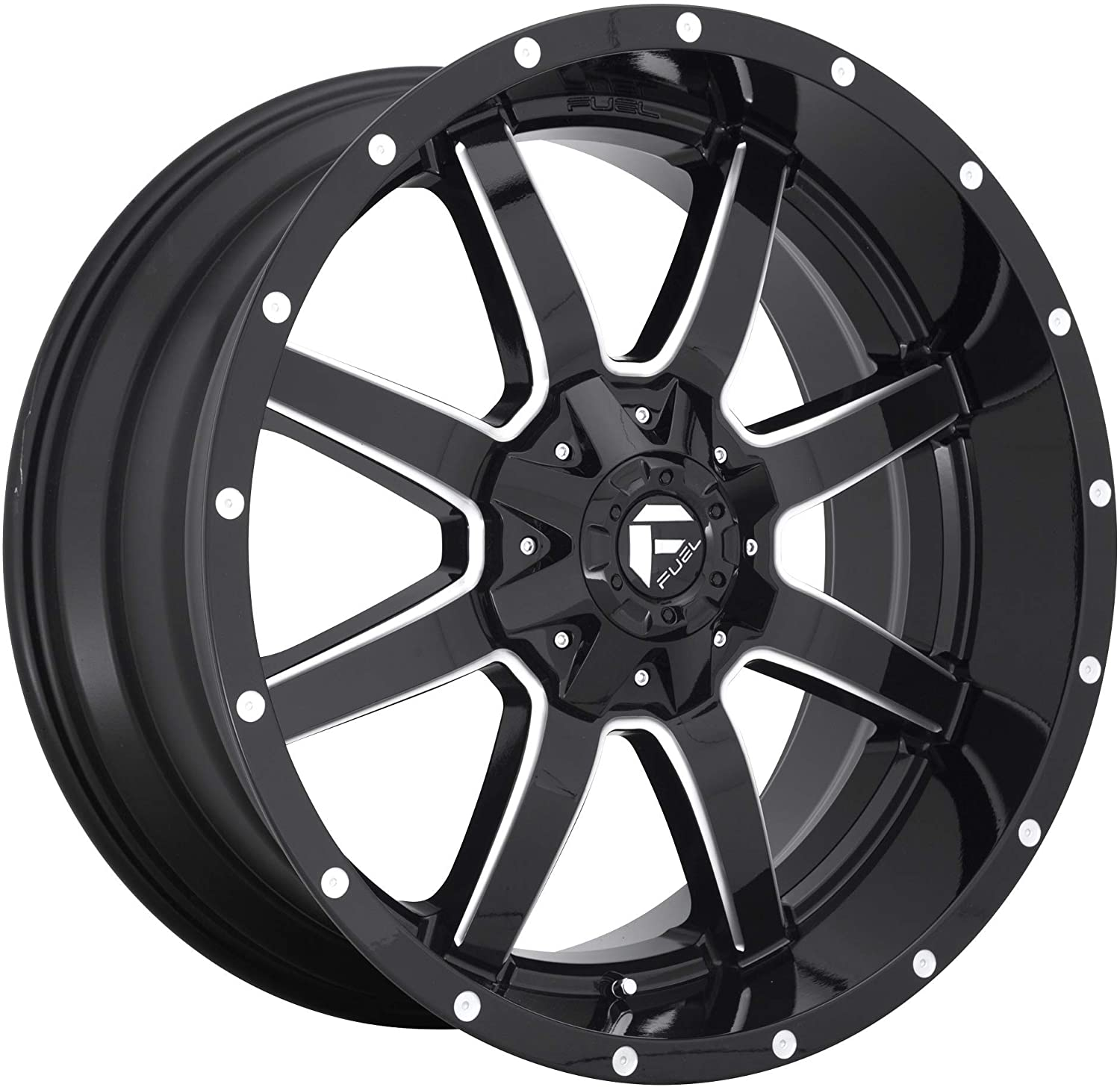Fuel 1PC Maverick 20X10 5X114.30/5X127.00 Gloss Black Milled (-12 MM) Wheel
