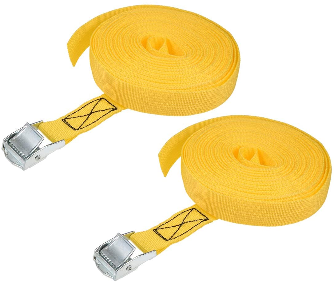 uxcell Cam Buckle Tie Down Lashing Strap 9Mx25mm 250Kg Load Cap Polypropylene for Moving Cargo, Yellow, Pack of 2