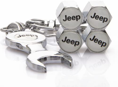 ciscost Wrench Keychain Chrome Tire Valve Stem Caps for Jeep