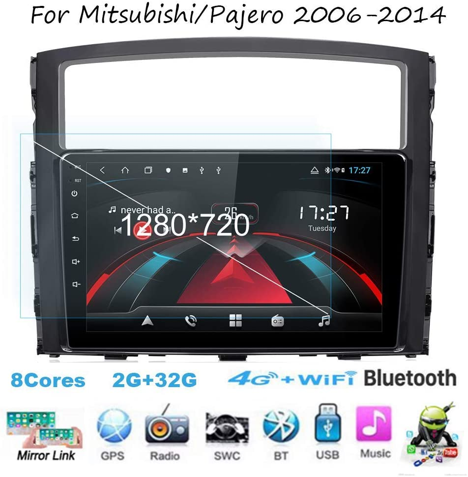 Android Car Stereo Radio Sat Nav Double Din for Mitsubishi/Pajero 2006-2014 GPS Navigation 9 Inch Touchscreen Head Unit Multimedia Player Video Receiver