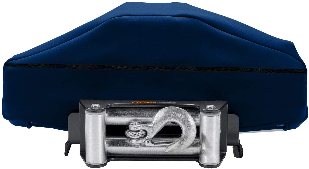 Winch Cover, Winch Dust Cover, Winch Cover with Zipper &Drawstring Close, Waterproof and Dustproof Winch Protection Cover Water and UV Resistances (Dark Blue)