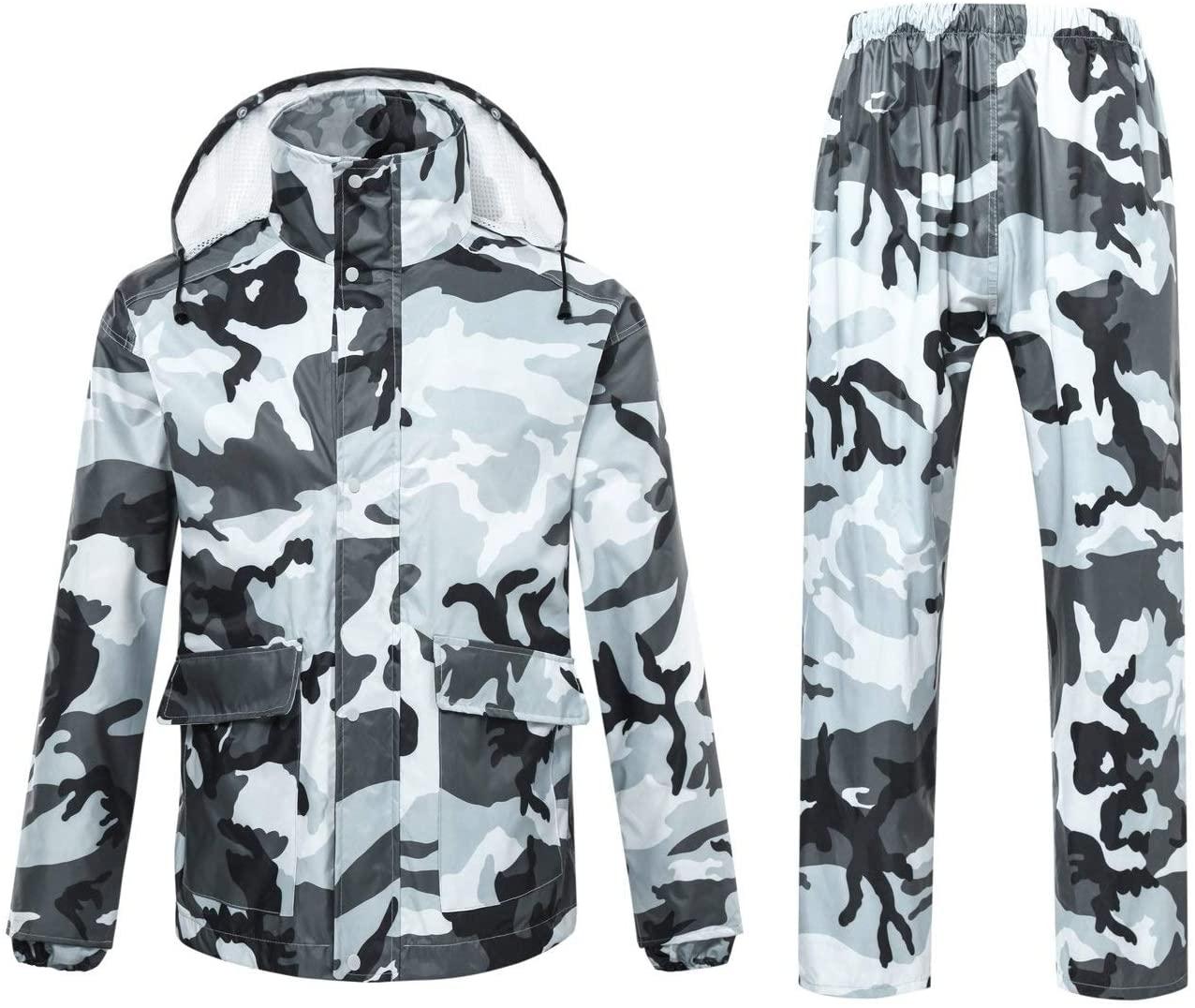 SH-jiake Raincoat Set for Adults Men and Women Reusable Rainwear Adults Waterproof Rainproof Windproof Hooded for Travel Running Cycling (Size : XXL)