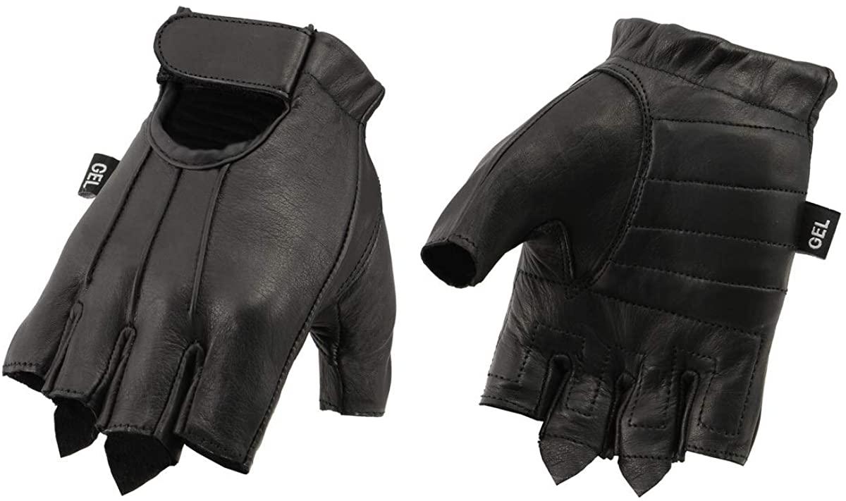 Xelement XG37563 Men's Black Welted Gel Palm Leather Fingerless Gloves