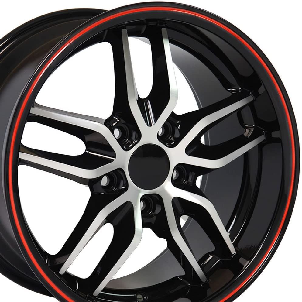OE Wheels LLC 17 Inch Fit Camaro CV18A Deep Dish Stingray Style Black Mach'd Red Band 17x9.5 Rims SET