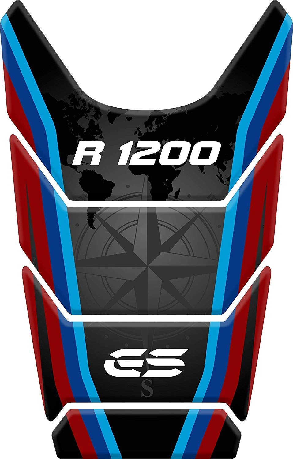 Stickers for fuel tank tankpad 3D effect resin adhesive sticker compatible with BM.W BM.W R 1200 GS R1200GS ADV Adventure (black/red/blue)