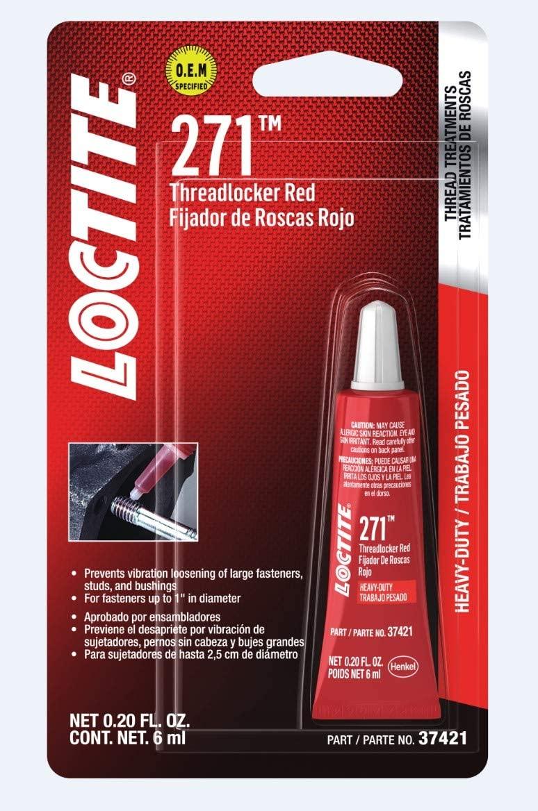 Loctite 487232 Threadlocker 271 High Strength Tube, Red, 6-ml