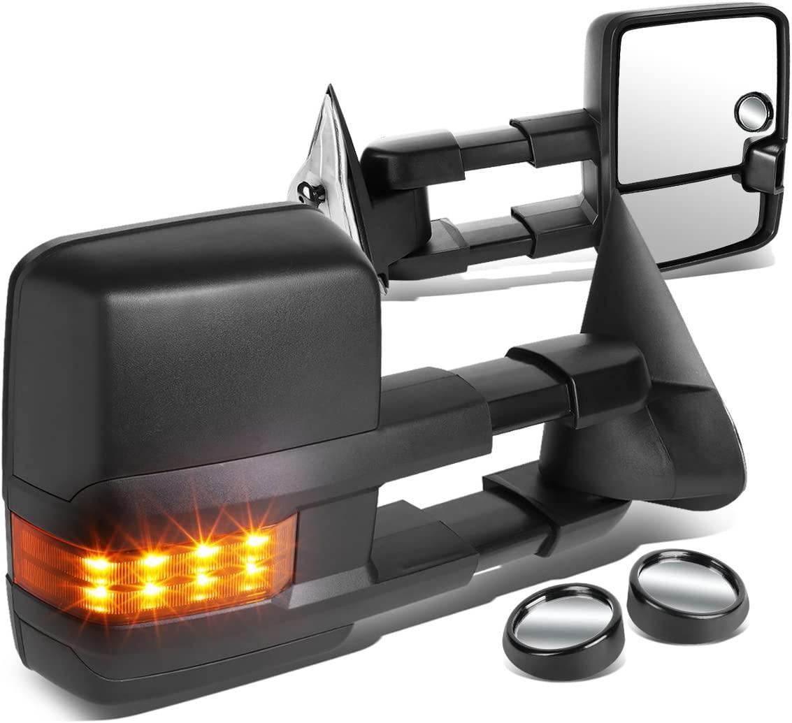 Replacement for Silverado/Sierra Black Manual Folding w/Amber LED Turn Signal Towing+Blind Spot Mirror w/Bezel