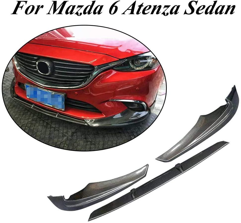 JC SPORTLINE fits for Mazda 6 Atenza Sedan 4-Door 2017-2019 Carbon Fiber Front Bumper Lip Spoiler Protector 3pcs/Set