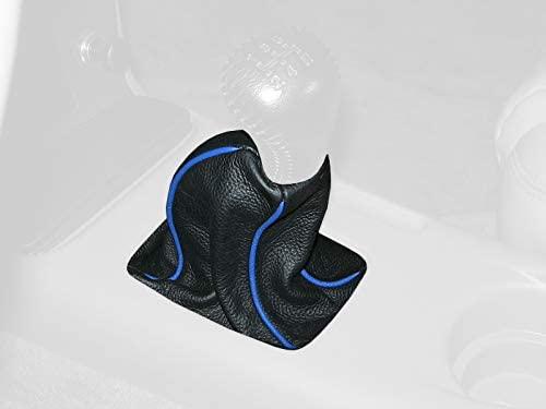 RedlineGoods bota/funda para palanca de cambios Compatible with Ford Taurus SHO 1992-95. Cuero Negro Costura Azul