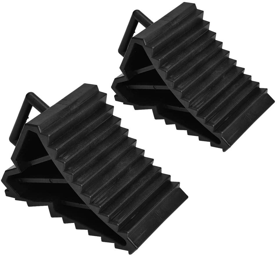 Qiilu Wheel Chock Solid Heavy Duty Anti-Slip Block Tyre Slip Stopper Wheel Block Tire Support Pad