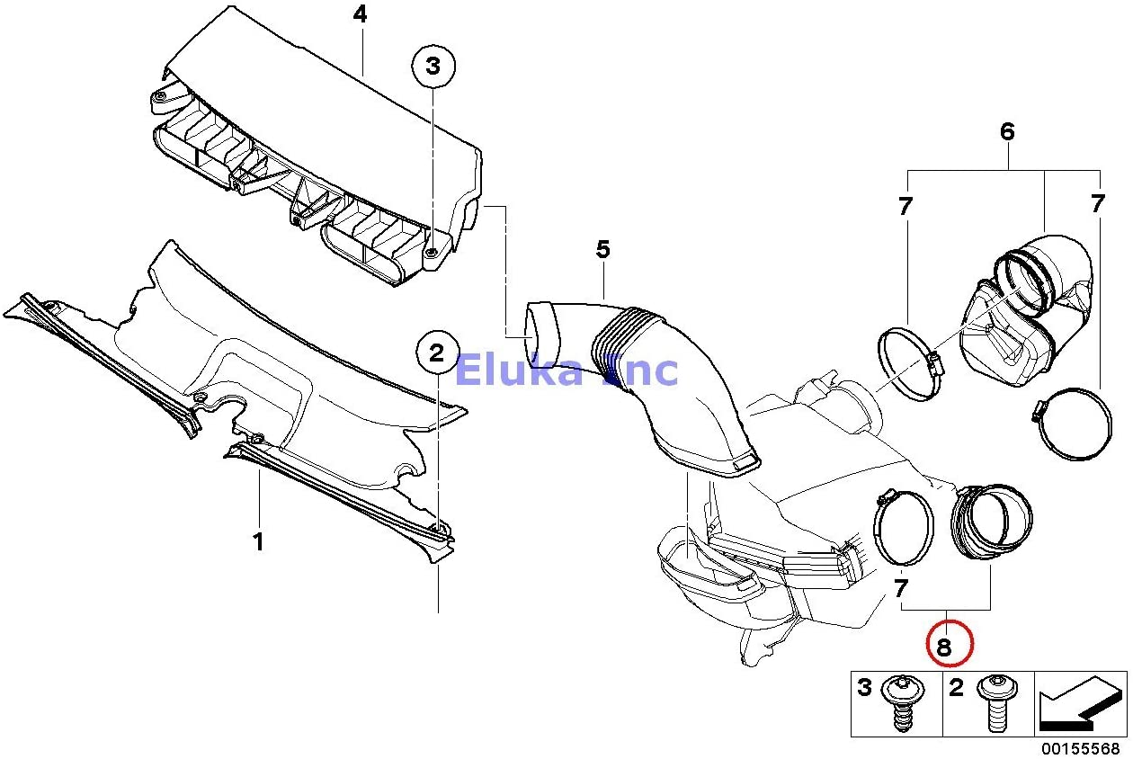 BMW Genuine Fuel System Intake Muffler Air Duct Rubber Boot X3 3.0i X3 3.0si