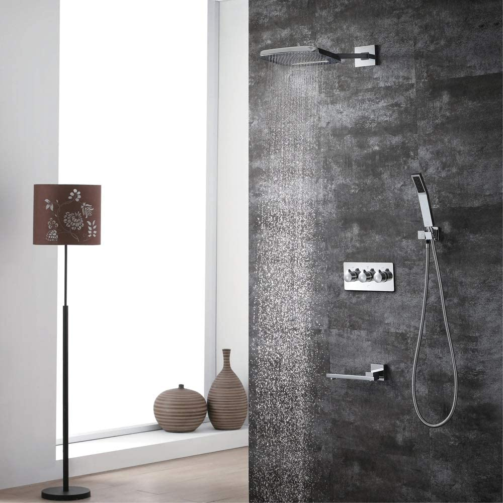 zZZ Concealed Shower Faucet Shower Four Function Hot and Cold Copper Chrome 200250 Two Function Waterfall Top Spray Practical